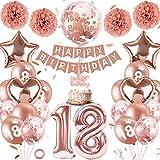 18er Cumpleaños Globos Oro Rosa Niñas, Feliz Cumpleaños Decoración 18 Años, Oro Rosa Metalizado Decoración Globos con Banner, Globos de Confeti y Globos de Aluminio