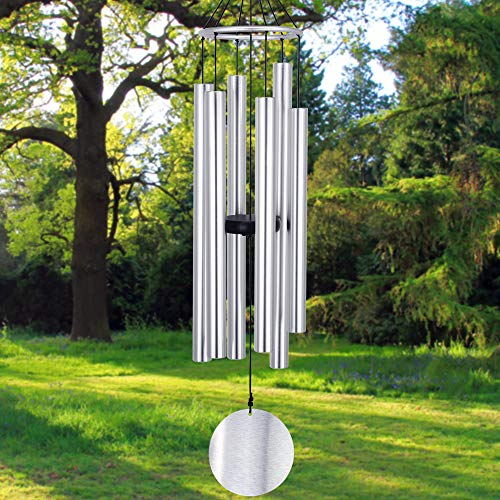 ASTARIN Large Wind Chimes Outdoor, 36 Inch Wind Chimes with Tuned Tubes, Elegant Memorial Chime for Mother/Housewarming Gift, Outdoor Decor Silver