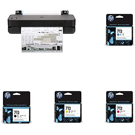 """HP DesignJet T210 Large Format Compact Wireless Plotter Printer - 24"""" (8AG32A), with Standard Genuine Ink Cartridges (4 Inks) - Bundle"""