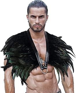 keland Gothic schwarze Feder Achselzucken Schal Halloween Party Kostüm Epauletten Fliege Krawatte Kragen