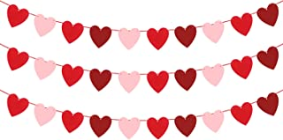 Felt Heart Garland Banner - NO DIY - Valentines day Banner Decor - Valentines Decorations - Anniversary, Wedding, Birthday Party Decorations - Red, Rose Red and Light Pink Color, for Home Office Decor