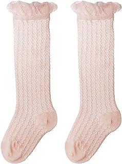 TINKSKY, Calcetines hasta la rodilla para Bebé Niños Niñas - Tamaño M (Rosa claro)