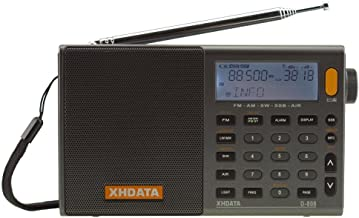 XHDATA D-808 Portable Alarm Clock Radio FM SW MW LW SSB RDS Air Band World Band Digital Receiver with LCD Display & External Antenna & Rechargeable Battery & Stereo Sound (D-808)