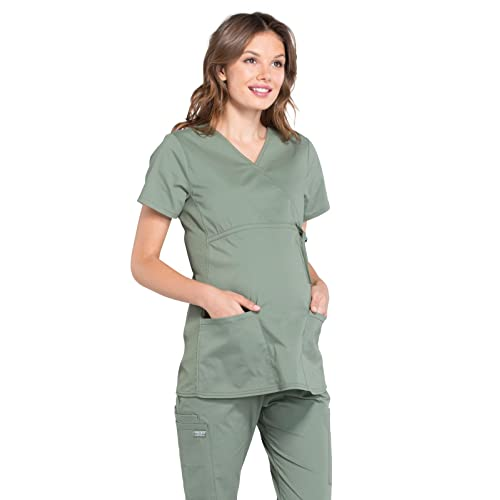 55b592763c440 Cherokee Workwear Professionals Women's Maternity Mock Wrap Scrub Top
