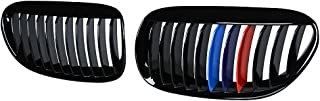 Anzios 2X Glossy Black M-Color Front Hood Kidney Grille Grill Bumper Side Compatible with 97-99 E36 3-Series Facelift