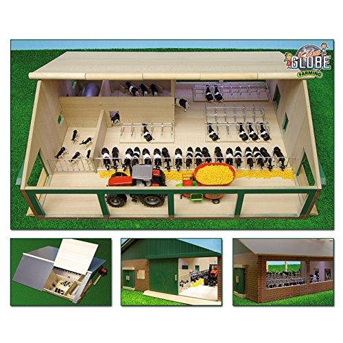 Kids Globe Kuhstall Holz mit Melkraum & Liegeboxen Maßstab 1:32, Größe 75x60x26,5, 610495