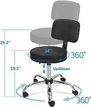 ZENY Adjustable Tattoo Salon Beauty Stool Hydraulic Rolling Chair Facial Massage Spa Stool Chair, White (Black w/backrest)