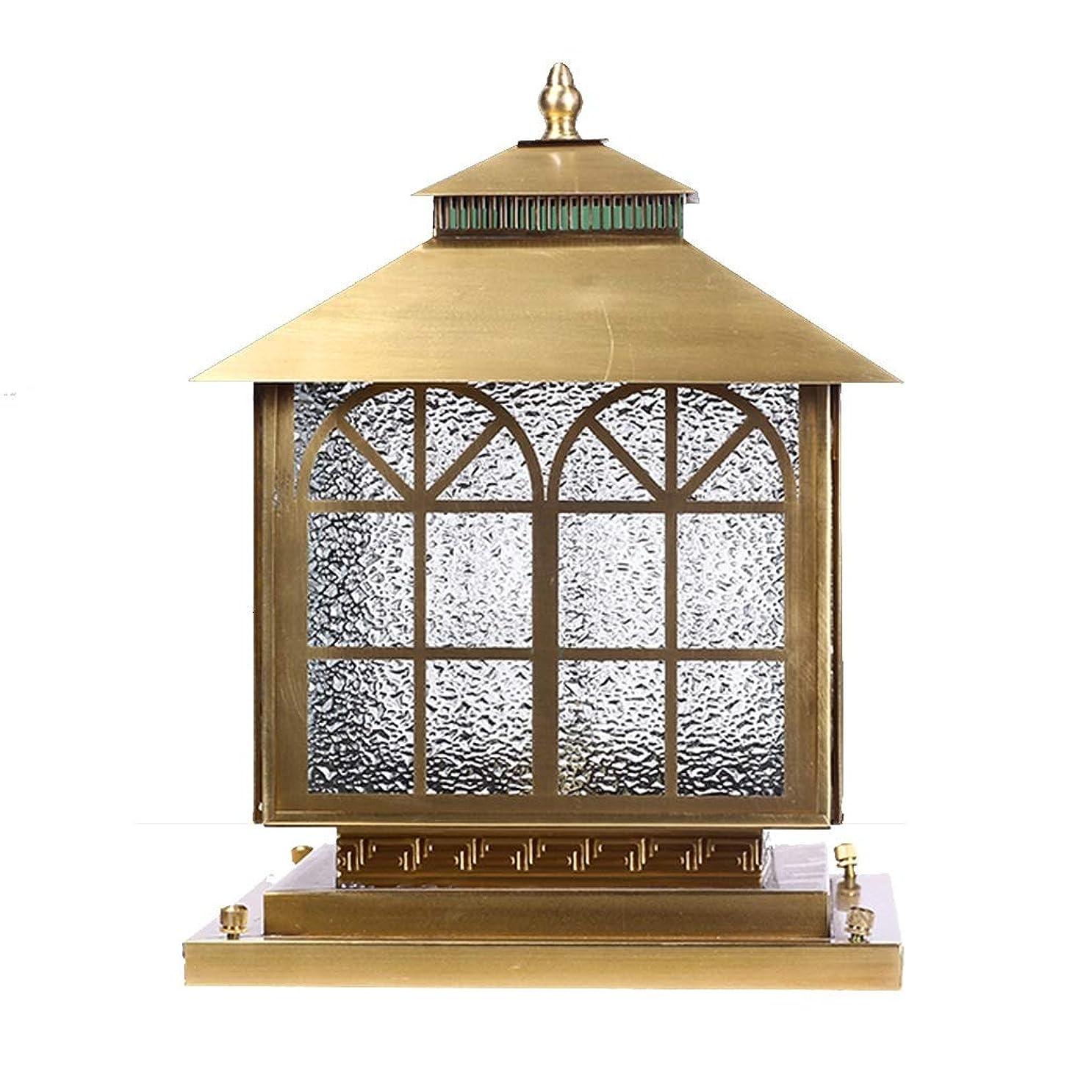 代わりにを立てる法律者ソーラーコラムヘッドライト ヴィラ用壁面ライト 屋外用防水ガーデンランプ 銅製ウォールランプ (Color : Gold, Size : 25*25*34cm)