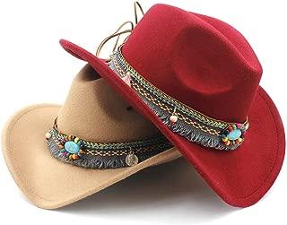 SHENTIANWEI Men Women Wool Western Cowboy Hat with Tassel Belt Pop Wide Brim Church Hat Sombrero Hat Fascinator Size 56-58CM
