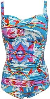 レディース 水着 ワンピース, 女性の細い肩ひもシャーリングフロントワンピース水着Monokinisシックなビーチウエア水着セクシー水着 水着 ワンピース レディース 連体式 タンキニ (色 : Leaf 16, サイズ : XXXL)