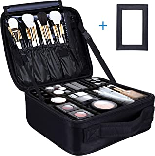 Skywoo Travel Makeup Bag Portable Cosmetic bag for Women Train Cosmetic Case Organizer with Mirror & Adjustable Dividers for Cosmetics Makeup Brushes Toiletry Jewelry Digital Accessories, Black