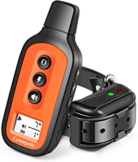 Dog Training Collar, Waterproof and Rechargeable Shock Collar for Dogs w/3 Training Modes, Up to 1600Ft Remote Range, Adjustable Collar Strap for Small Medium Large Dog, All Breeds
