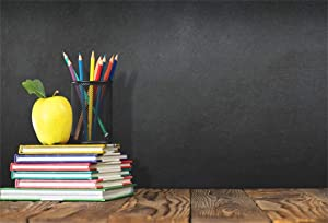 Leyiyi 9x6ft Welcome Back to School Backdrop School Season Old Classroom Banner Vintage Desk Blackboard Colored Pens Note Books Apple Photography Background Kids Portrait Studio Prop Vinyl Banner