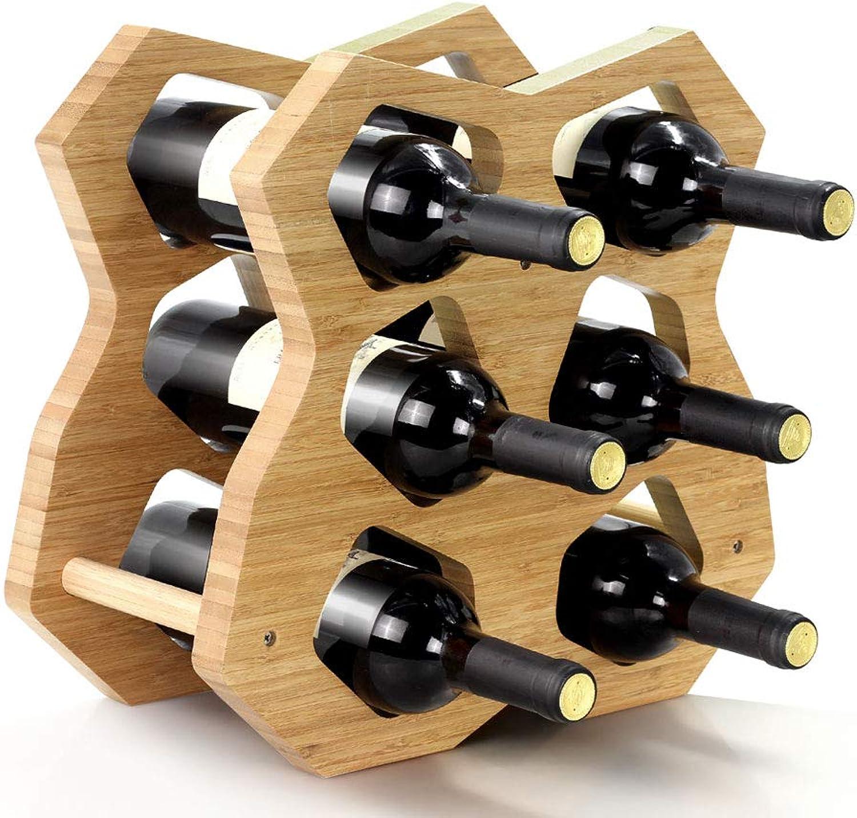 precios al por mayor Botelleros - Estante de Vino Creativo Soporte Soporte Soporte de exhibición de Madera sólida Estante de bambú Europeo del Licor del hogar Soporte de la Botella Estante Simple (Tamaño   355  185  380mm)  Con 100% de calidad y servicio de% 100.
