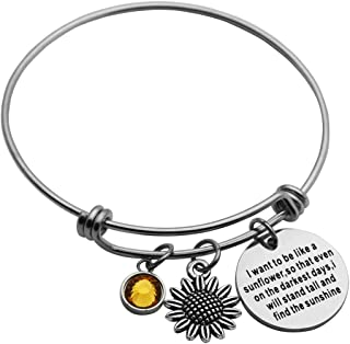 Sunflower Bangle Bracelet I Want to be Like a Sunflower So That Even on The Darkest Days I Will Stand Tall and Find The Sunshine Sunflower Jewelry