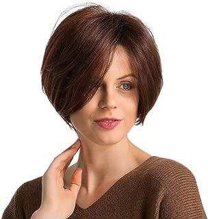 Emmor Short Brown Human Hair Wigs for Women Blend With Healthy Kanekalon Fiber Side Part Bob Wig Dark Root,Natural Daily Use Hair