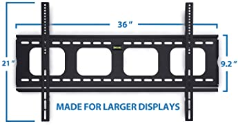 Mount-It! Low-Profile Large TV Mount | Flush TV Wall Mount | Ultra-Slim Fixed TV Mount for 42-70 in. Screen TVs | VES...