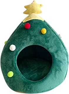 Christmas Cat Tent Cave Bed, Cute Cat House Pet Bed, Green Soft Self-Warming Cat Bed Pet Tent House, Merry Christmas Decorative Triangle Cat Teepee House Perfect for Holiday Gift (Green)