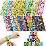 BAKHK 35 Stücke Verschiedene gemischte Muster Kreise Retro Slap Armbänder Schnapparmbänder für...