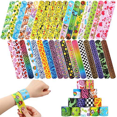 BAKHK 35 Stücke Verschiedene gemischte Muster Kreise Retro Slap Armbänder Schnapparmbänder für Kinder Erwachsene Party-Pakete