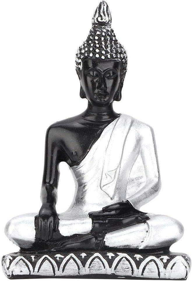 Tyenaza Jardín Zen, Mesa de Buda, Accesorios de Mesa de Arena Populares, Estatua de Buda del sudeste asiático, Adorno Artesanal de Resina, Rocas de río(Sirver)