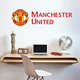 Manchester United Football Club Official Crest and Club Name Wall Sticker + Man Utd Logo Decal Set Vinyl Poster Print Mural Art (180cm x 45cm)