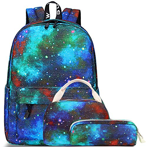 Galaxy Schulrucksack, Mygreen Schulranzen Mädchen Schulrucksack Schultasche Rucksack Kinder Daypack 3 Teile Set für Schule und Freizeit Grün Blau