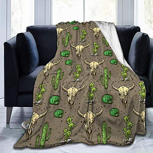 Decke Werfen Schädel des Stiers Und des Niedlichen Kaktus Fleecedecke Ultra-Weiche Gemütliche Wurfs-Decke Wohnzimmer-Decken-Druck-Warmer Flockiger Leichter Fall-Bett-Couch-Stuhl-Frühling 102X127Cm