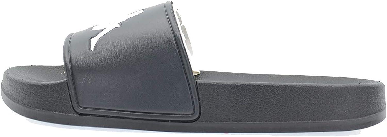 Kappa Adam 2 Logo Slide Sandals, Black White, 8 Mens