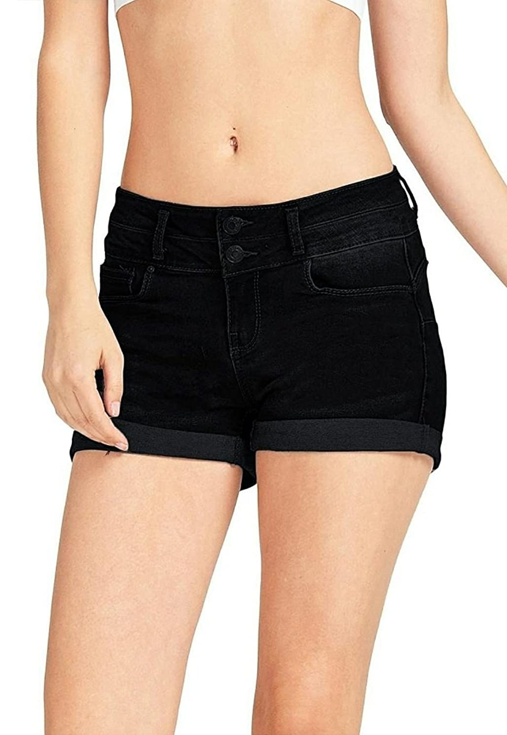 WAX JEAN 2 Buttons Push Up Shorts with A Silver Brushed Nickel Finish