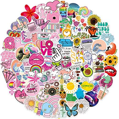 Pegatinas 100 stickers de estilo Vsco, paquete de pegatinas de vinilo para laptop, botella de agua, monopatín, equipaje, teléfono, calcomanía, guitarra, pegatinas para niñas, adultos y adolesc