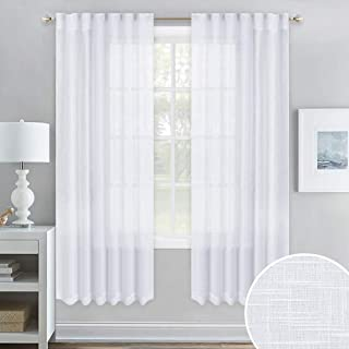 NICETOWN Rod Pocket & Back Tab Country Sheer Curtains for Windows, Linen Textured Panels, Bedroom Window Privacy Semitransparent Voile Sheer Drapes for Dining Room, 52 x 72 Inch, White,1 Pair
