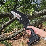 KKTECT Sierra de podar eléctrica portátil Mini motosierra multifunción Motosierra eléctrica inalámbrica de 4 pulgadas Mini motosierra de mano portátil para cortador de madera de rama de árbol(negro)