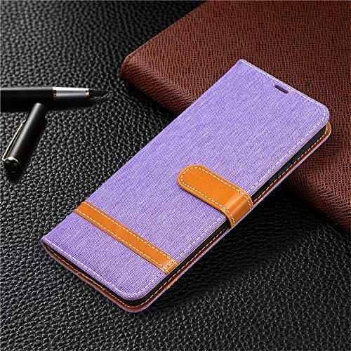 QiuKui Fundas para LG K4 K7 K8 2017 K10 2018, funda de vaquero de lujo, funda tipo cartera de cuero para teléfono LG K40 K50 K61 Q60 Q8 G6 G7 (color: lavanda, material: para LG G7)