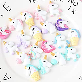 40 PCS Unicorn Slime Charms for Craft Making, Fineder Unicorn Slime Beads Mix Assort DIY Flatbacks Resin Flat Back Buttons Scrapbooking