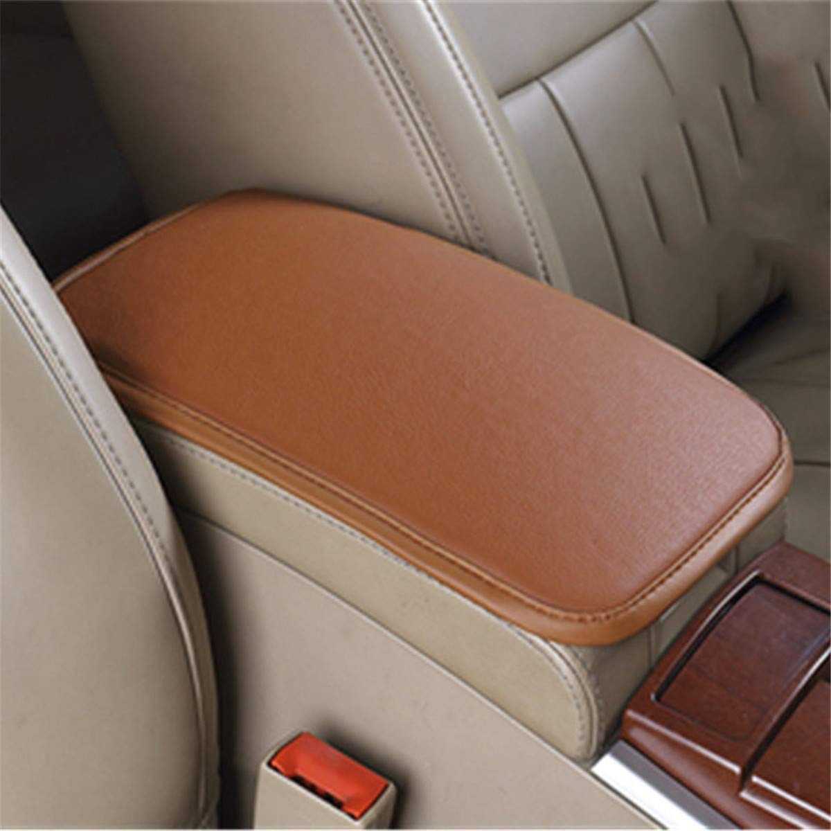 1pc Black+Red PU Car Interior Console Armrest Cushion Mat Breathable Accessories