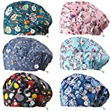 Syhood 6 Pieces Button Bouffant Hats Working Caps Adjustable Printed Sweatband Caps for Women Men Nursing Surgical Caps with Button (Unicorn Style)