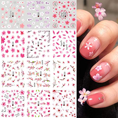 Sakura Nail Water Stickers Decals Pink Cherry Blossoms Tree with Leaves Nail Art Sliders Summer for Nail Art Decoration Watermark Flower Designs Foil Nail Art Stickers Manicure Tips Decorations 12PCS