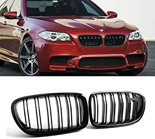 SNA Gloss Black ABS Front Kidney Grille with Double Slats Mesh Grill Compatible for 2010-2016 BMW 5 Series F10 And F10 M5, 2-pc Set