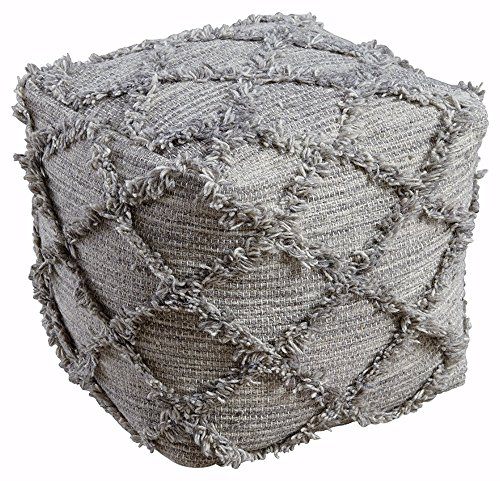 Signature Design by Ashley - Adelphie Pouf - Wool - Contemporary - Natural/Gray