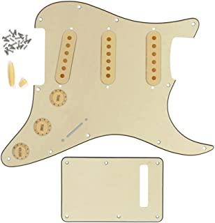 FLEOR Juego de golpeador de guitarra Strat SSS estilo/placa trasera/48mm 50mm 52mm Pastilla Cubiertas/2t1V perilla de Control/interruptor punta/punta de bar, 3ply, cream