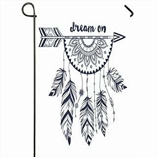Ahawoso Outdoor Garden Flag 28x40 Inches Feathers Retro Arrow Indian Beads Abstract Dream Style Aztec Vintage Doodle Modern Drawing India Seasonal Home Decor Welcome House Yard Banner Sign Flags