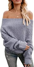 Eurivicy Womens Oversized Sweater Off The Shoulder Batwing Sleeve Pullover Loose Knit Jumpers