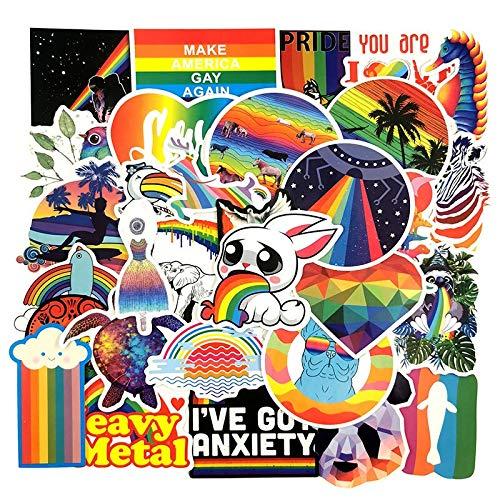 LSPLSP Lote De Dibujos Animados Ins Rainbow Pegatinas Para Refrigerador Maleta Coche Niños Juguete Monopatín Tablet Ordenador Portátil 100pcs/