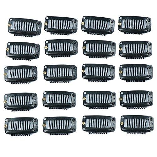 extensión de pelo clips 20 piezas negro 9 dientes snap-comb peluca clips