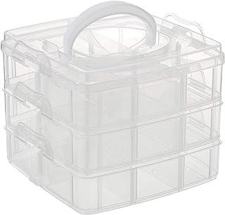 Rayher boite de rangement en plastique avec poignée de transport    boite de rangement transparente pour ranger vos affair...