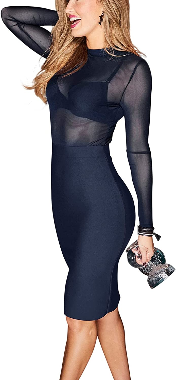 LASCANA Mesh Top Bodycon Dress, Navy, Summer Dresses for Women Partydress Females Elegant Short Length