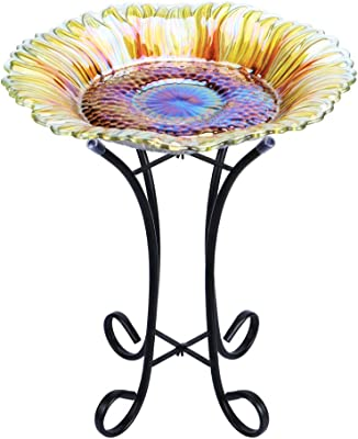 "MUMTOP Outdoor Glass Birdbath with Metal Stand for Lawn Yard Garden Sunflower Decor,18"" Dia/21.65 Height"