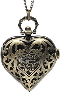 Souarts Montre Gousset Pendentif de Poche Forme Cœur Creux avec Chaîne Bronze Antique