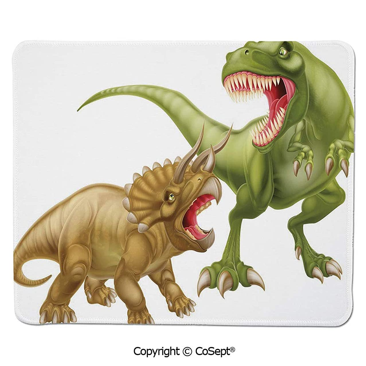 Mouse Pad,T Rex Versus Triceratops Fighting Scaring Each Other Wild Reptiles Decorative,Water-Resistant,Non-Slip Base,Ideal for Gaming (11.81